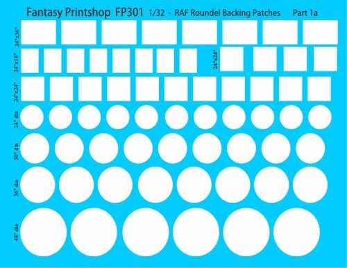 Fantasy printshop FP302 RAF backing patches 32a scale roundels finflashes
