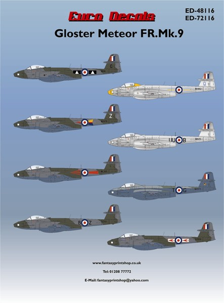 Euro Decals Gloster Meteor FR.Mk.9 ED 72116