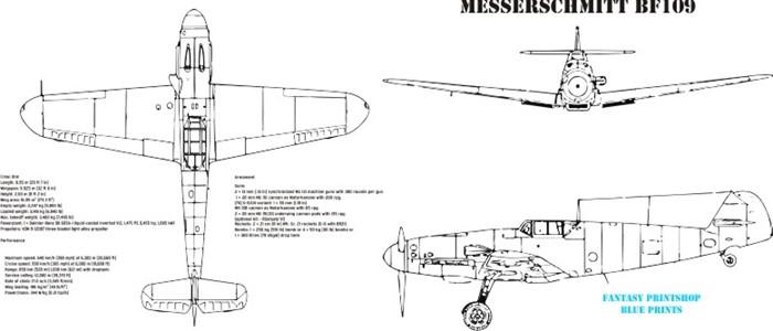 Fantasy Printshop mug print FPM 104 Messerschmitt Bf109