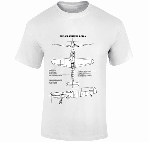 Fantasy Printshop Blue Prints T shirts Messerschmitt Bf109