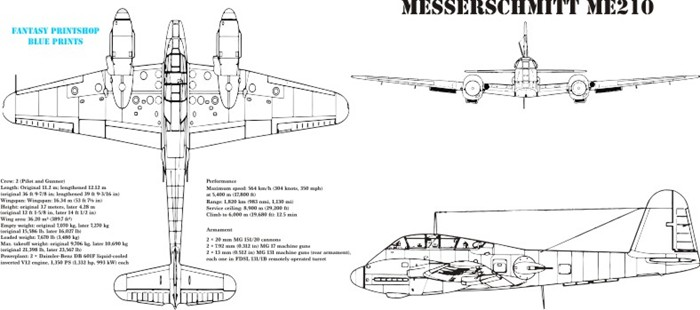 Fantasy Printshop mug print FPM 103 Messerschmitt Me210