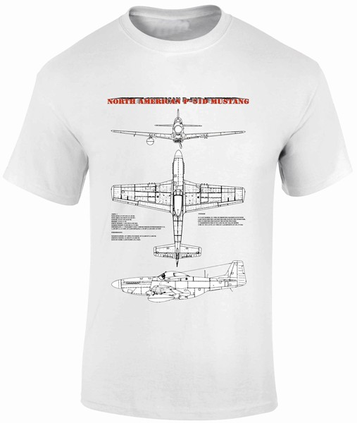 Fantasy Printshop FPBP 302 Tshirt print P-51 Mustang