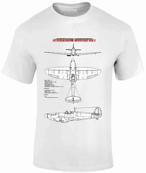 Fantasy Printshop Blue Print T shirt Supermarine Spitfire