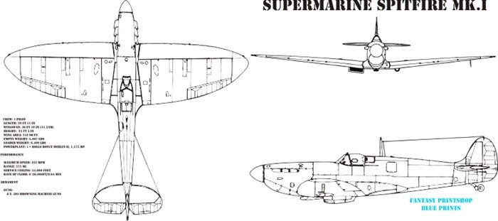 Fantasy Printshop Mug Print FPM 301 Supermarine spitfire