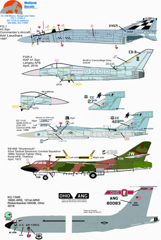 Wolpak Decals, 72-109, Blood, Sweat, Valor, FG.1, FGR.4, EF-111A, EB-66E, KC-135R, Header sheet
