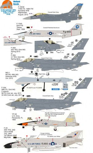 wolfpak 72062 lightnings strike F16 F104 MQ1 F35 F4 YF5 jets decals waterslide transfers