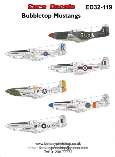 Euro Decals north american mustang ED32-119 printed by Fantasy Printshop