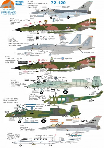 Wolfpak 72-120 USAFE aircraft decals transfers Model Decals