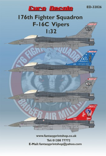 Euro Decals ED-32026 176th Fighter Squadron F-16C Vipers