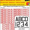 FPRC890 10mm RED RAF Serial Numbers and Letters radio control RC vinyl Pre Cut