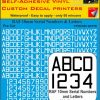 FPRC890 10mm white RAF Serial Numbers and Letters radio control RC Pre Cut vinyl letters