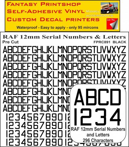 FPRC891 12mm BLACK RAF Serial Numbers and Letters radio control RC Pre Cut vinyl