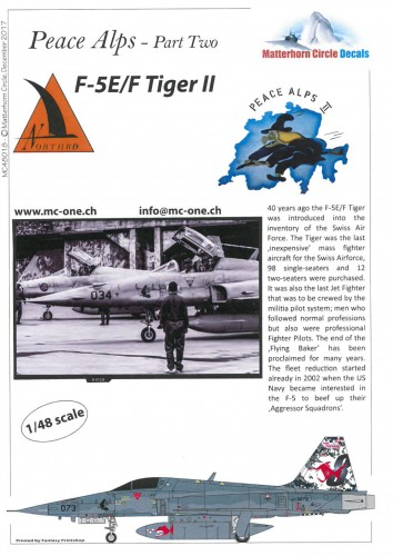 Matterhorn Circle 48018 F-5E/F Tiger - Peace Alps Part Two decals