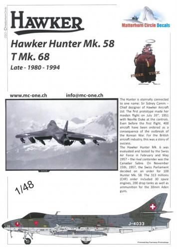 MatterHorn Circle MC48020 Hawker Hunter Mk58 T MK68 to late