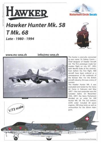 MatterHorn Circle MC72020 Hawker Hunter Mk58 T MK68 to late