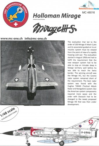 Matterhorn Circle 48016 Mirage IIIS Holloman decals