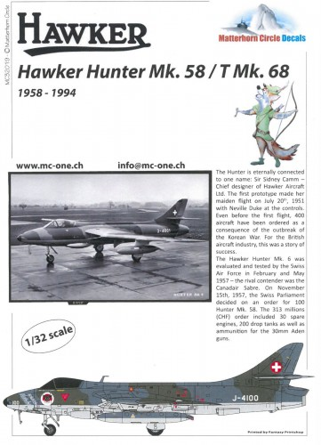 Matterhorn Circle MC32019 Hawker Hunter Mk.58 early