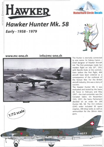 Matterhorn Circle MC72019 Hawker Hunter Mk.58 early