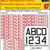 FPRC894 18mm RED RAF Serial Numbers and Letters radio control RC Pre Cut vinyl letters