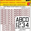 FPRC895 20mm DULL RED RAF Serial Numbers and Letters radio control RC Pre Cut vinyl letters
