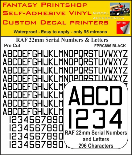 FPRC896 22mm BLACK RAF Serial Numbers and Letters radio control RC Pre Cut vinyl letters