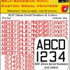 FPRC897 24mm RED RAF Serial Numbers and Letters radio control RC Pre Cut vinyl letters