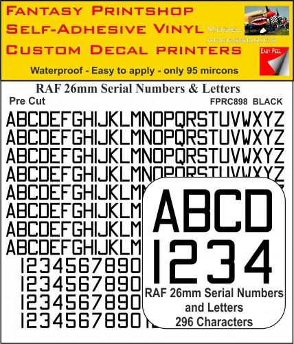 FPRC898 26mm BLACK RAF Serial Numbers and Letters radio control RC Pre cut vinyl letters
