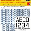 FPRC898 26mm BLUE RAF Serial Numbers and Letters radio control RC Pre Cut vinyl letters