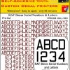 FPRC898 26mm DULL RED RAF Serial Numbers and Letters radio control RC Pre Cut vinyl letters
