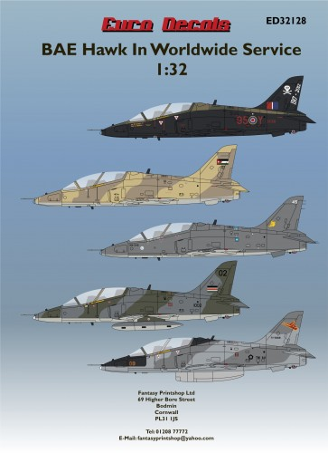 Euro Decals BAE Hawks in world wide service decals in 1/32 scale