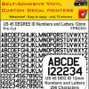 US 45 DEG ID pre cut NUMBERS and LETTERS 12MM BLACK