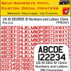US 45 DEG ID pre cut NUMBERS and LETTERS 12MM RED