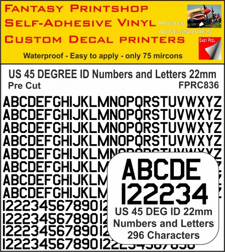 US 45 DEG ID pre cut NUMBERS and LETTERS 22MM BLACK
