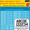 US 45 DEG VINYL STICKERS NUMBERS LETTERS 24MM WHITE