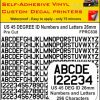 US 45 DEG NUMBERS LETTERS 26MM BLACK vinyl stickers