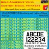 US 45 DEG NUMBERS LETTERS 26MM yellow vinyl stickers