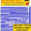 Radio Control Arial 18mm stickers decals characters pre cut in blue