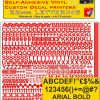 Radio Control Arial 22mm stickers decals characters pre cut in red
