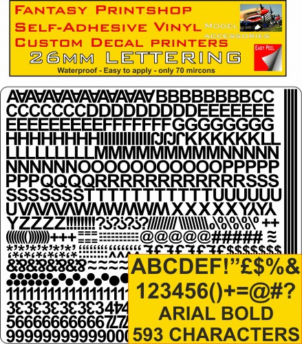 Radio Control Arial 26mm stickers decals characters pre cut in black