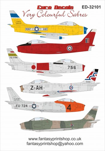 Eurodecals Very colour full sabres 1/32 scale decals