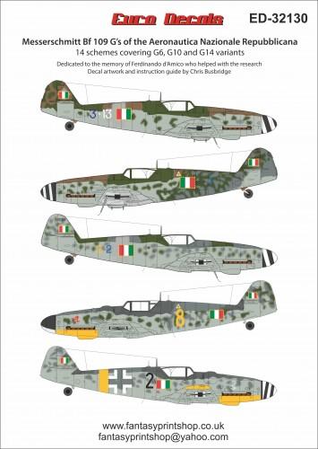 EuroDecals Bf 109G ANR Messerschmitt Bf109G's of the Aeronautica Nazionale Repubblicana