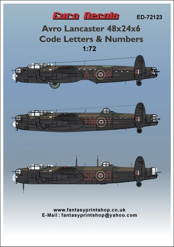 ED-72123 Avro Lancaster 48x24x6 Code Letters & Numbers decals