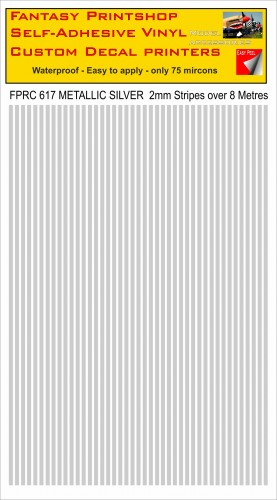 FPRC617 2mm vinyl RC stripes METALLIC SILVER