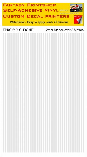 FPRC619 2mm vinyl RC stripes CHROME FINNISH