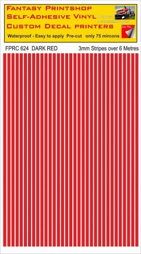 FPRC624 3mm vinyl RC stripes DARK RED