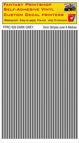 FPRC626 3mm vinyl RC stripes DARK GREY