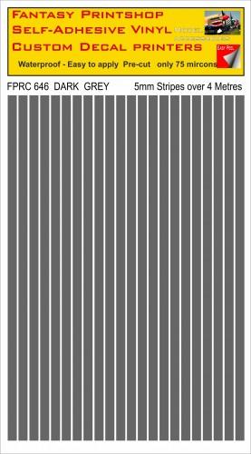 FPRC646 Dark Grey 5mm vinyl RC stripes