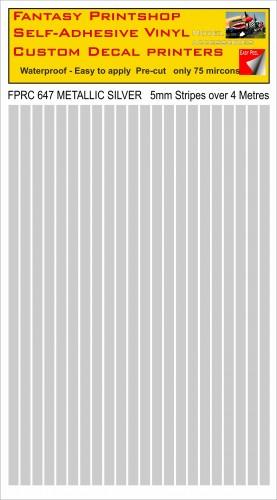 FPRC647 Metallic Silver 5mm vinyl RC stripes