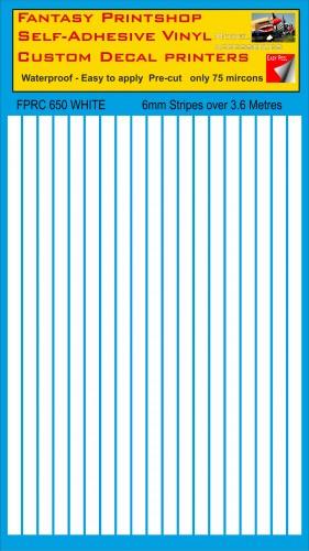 FPRC650 white 6mm vinyl RC stripes