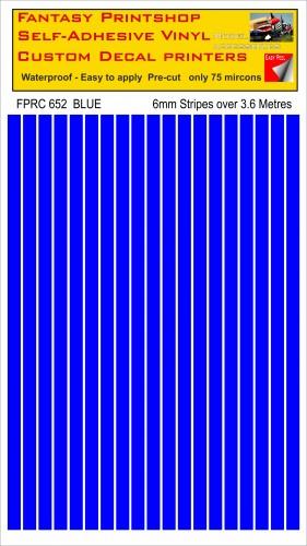 FPRC652 Blue 6mm vinyl RC stripes